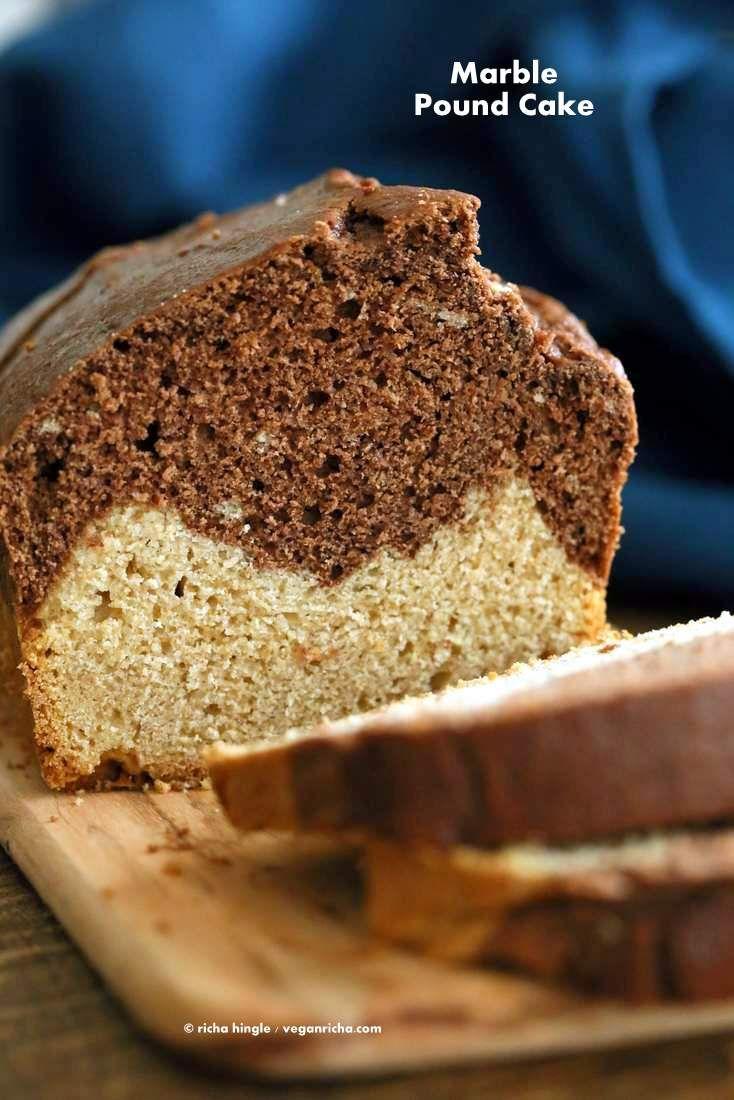 Vegan Cream Cheese Pound Cake. Marbled Vanilla Chocolate Cake. This pound cake is moist and dense | VeganRicha.com