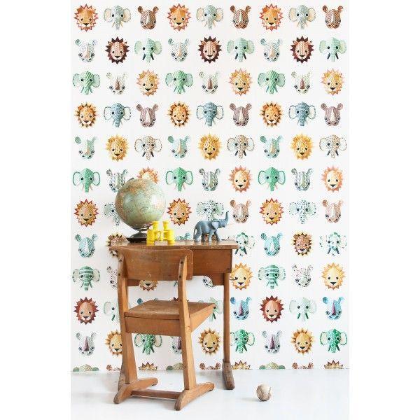 @studioditte Wilde Dieren behang cool voor aan de muur #behang #kleurrijk #wild #dieren #wildedieren #neushoorn #leeuw #olifant #beestenboel #vrolijk #design #Flinders