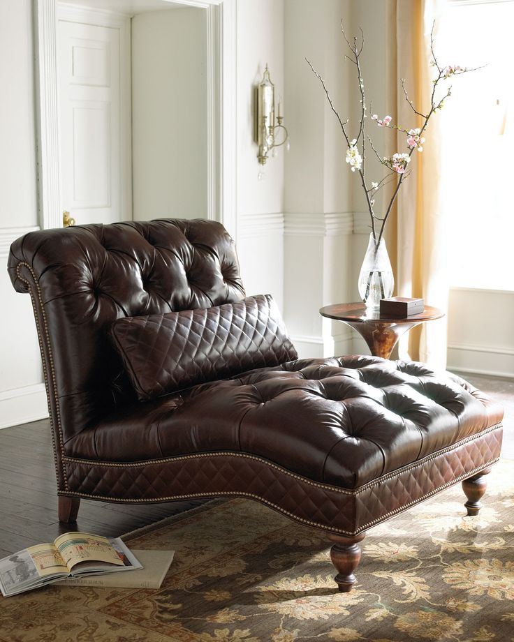Old Hickory Tannery Mocha Leather Chaise Furniture