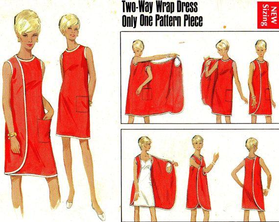 Vintage des années 1960 4699 Butterick robe mod avec trois emmanchures, sans coutures latérales, peut être porté avec une pellicule de côté à lavant ou à larrière. Tous les bords sont liés avec biais foldover tresse. Poche plaquée.  Taille du support (12-14) - buste 34-36, taille 25 1/2-27, hanche 36-38 *  Enveloppe a quelques petites déchirures dans les coins et les bords du rabat. Motif est neuf et encore dans les plis dusine. Ce un modèle unique et difficile à trouver donc happer pendant…