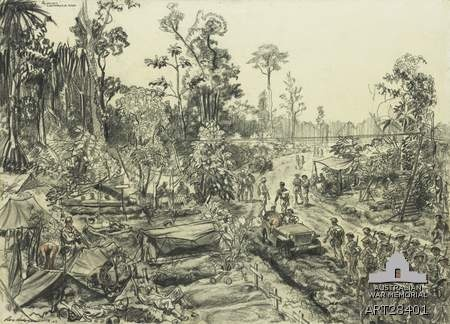 This Day in History - Drawing of Huggins Road Block on Sanananda road approaching Sanananda Point. A strategic block astride Japanese Lines of Communications where heavy fighting took place.The drawing was done on the spot with the Allies fiercely engaging the Japanese on the east side of the road. Scene at Huggins Road Block on the Sanananda Road during action, American soldiers in camp resting and washing, Australian platoon moving up for action, wounded carried by natives away from…
