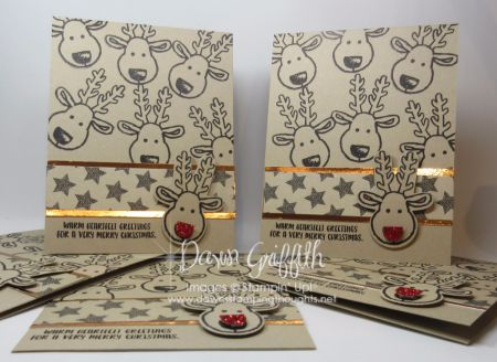 Hi Stampers, Today we will be making this adorable Rudolph Christmas card . I made these for my Stamp club hostess ( Laurie ), I even stamped her Crumb Cake envelopes #107297 with the cute reindeer f