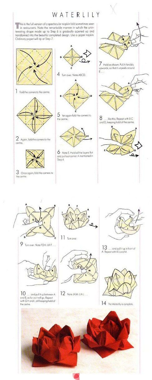 DIY Serviette falten - Waterlilly - für Mrs. A. Gebäck - - - - - napkins folded like this look really cute