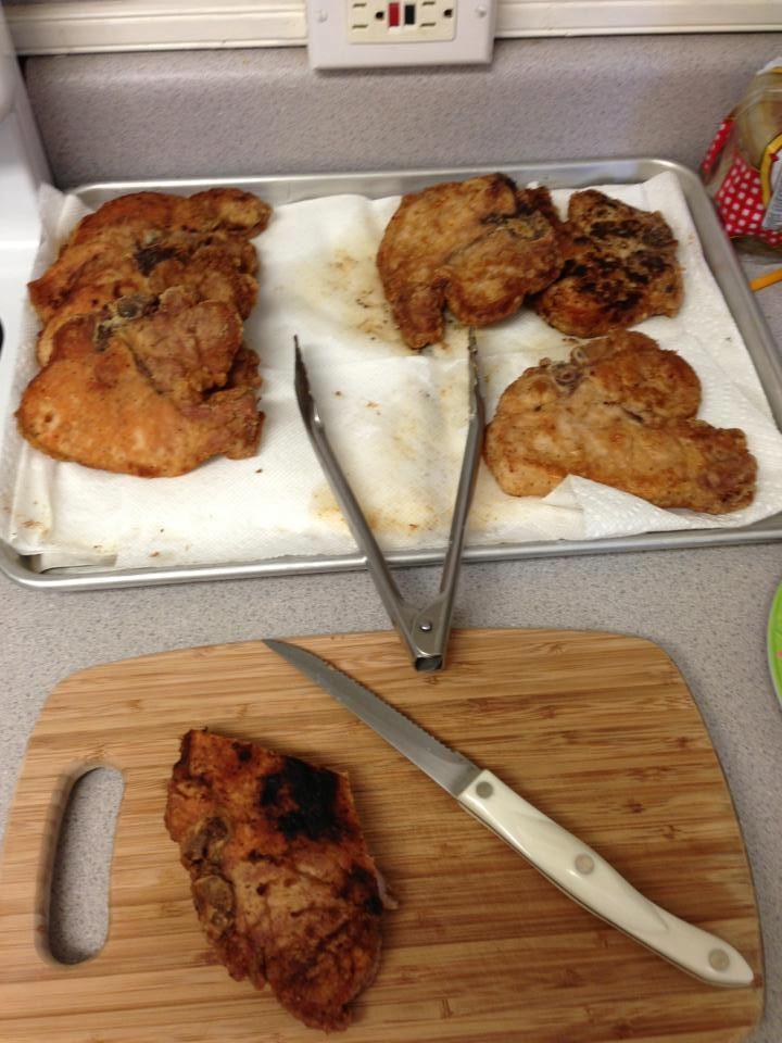 Side Street Innʻs Pork Chops Made by Ono Kine Friend Kehau Torres