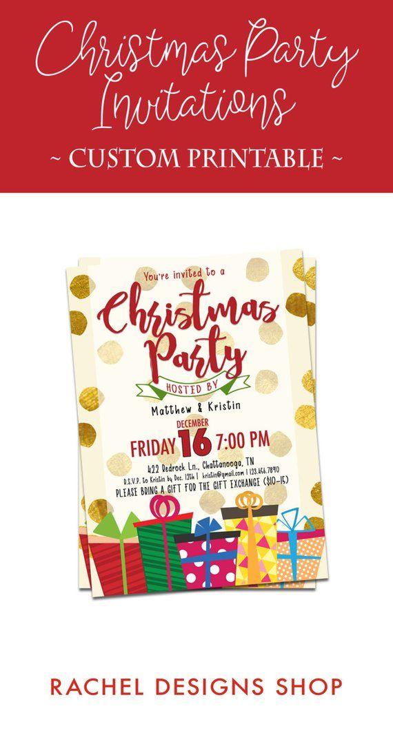 Custom Christmas Invitation, Gold Christmas Invitation, Printable
