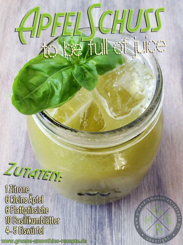 Frischer und kaltgepresster Apfel-Basilikum-Pfirsich-Saft