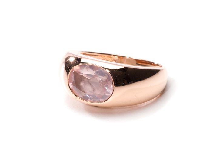 "Ring ""Parijs"" 14 krt. Rosé-Goud met Rozenkwarts"