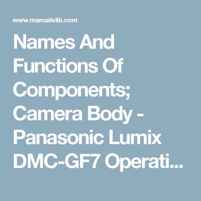 Names And Functions Of Components; Camera Body - Panasonic Lumix DMC-GF7 Operating Instructions For Advanced Features [Page 13]