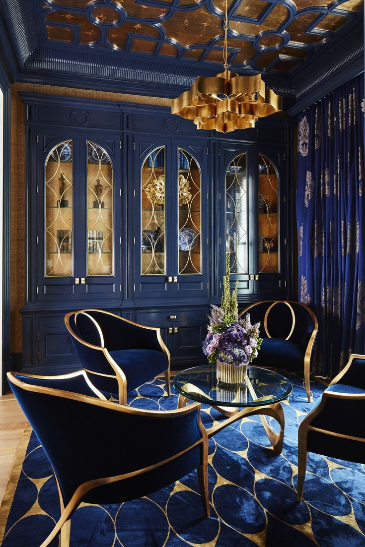 Bold Navy & Gold Parlour, with gold leaf ceiling details, custom cabinets & rug