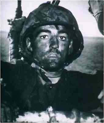 "A battle fatigued United States Marine in WWII with the ""thousand yard stare."""