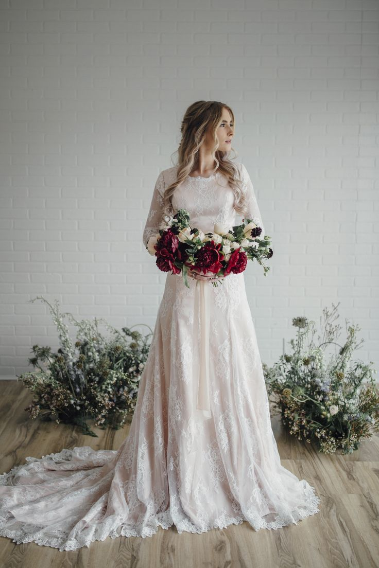 Brook gown by Elizabeth Cooper Design | Photo by Cassandra Farley Photography | modest wedding dress | wedding dress with sleeves | blush | aline | lace wedding dress | wedding gown | lace | blush wedding dress | modest | long sleeves | wedding dress with long sleeves | wedding dress |