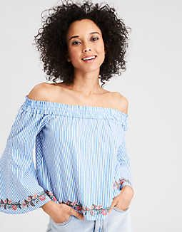13dac6cc049 AE Tiered Off-The-Shoulder Ruffle Sleeve Top - | Outfits in 2018 ...