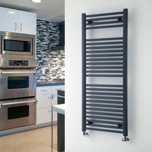 This anthracite heated towel rail looks great in the kitchen as well as the bathroom