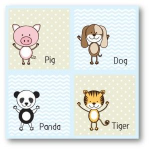 Pig, Dog, Panda, Tiger canvas décor for baby boy's room.  www.mooshimoo.co.za