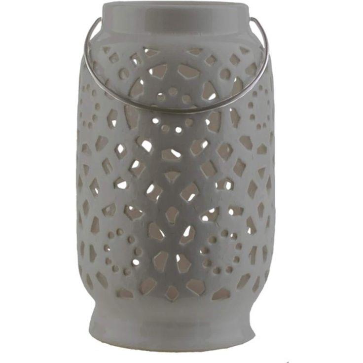 11 Madison Links Ash Gray Ceramic Large Pillar Candle Holder Lantern