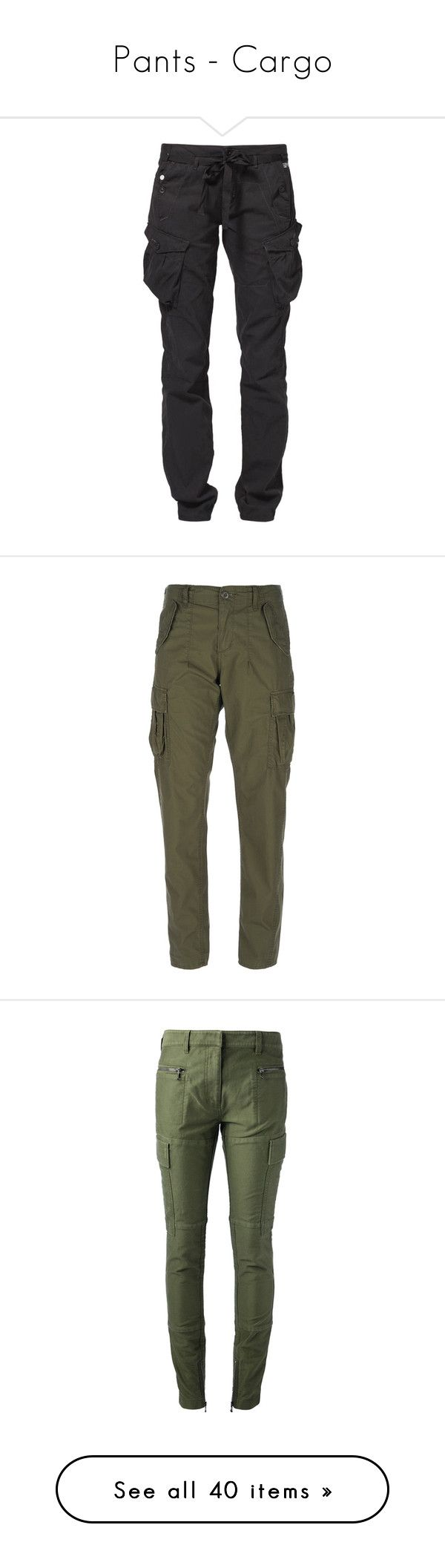"""Pants - Cargo"" by giovanna1995 ❤ liked on Polyvore featuring GREEN, military, pants, cargo, bottoms, jeans, black, trousers, women's trousers and g star raw pants"