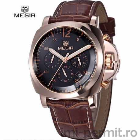 Ceas business Megir. Chronograph multi-functii