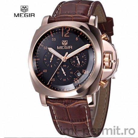 Ceas business Megir. Chronograph multi-functii