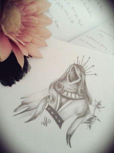 A queen of cards sketch