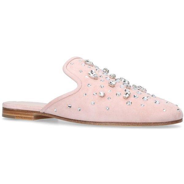 Giuseppe Zanotti Letizia Embellished Slip-On Flats ($855) ❤ liked on Polyvore featuring shoes, flats, ballet flat shoes, flat shoes, pink ballet shoes, embellished ballet flats and pink ballerina flats