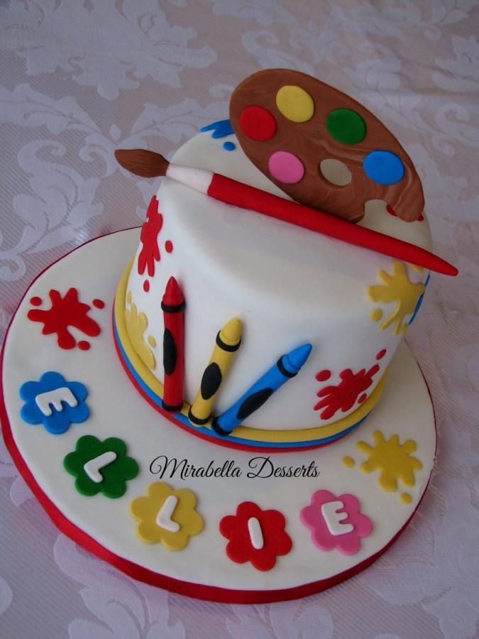 Artist Themed Cake : Little artist cake - Cake by Mira - Mirabella Desserts Art Cakes Pinterest Creative ...