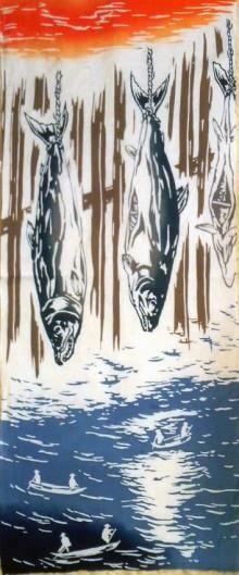 Japanese washcloth, Tenugui 塩引き鮭 salted salmons
