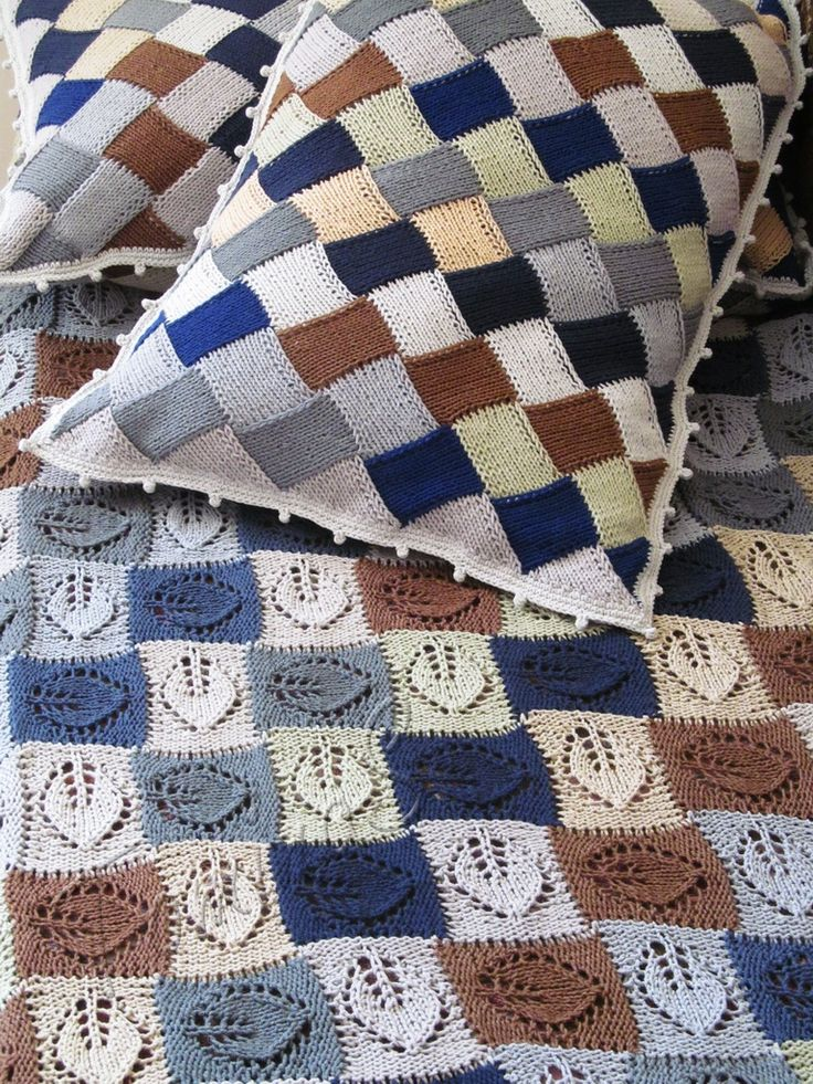 "Set for children's bedroom ""Squares"" (knitted baby blanket and pillows - hand knit home decor - handmade cotton blanket - entrelac cotton pillow - knit bedroom set - knitted afghans - hand knit throw - knit quilt and pillowcase)"