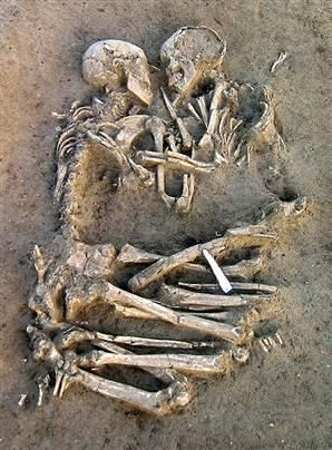 """This makes my soul quiver. This is both dark and beautiful... Human skeletons unearthed in Mantua, Italy - """"Forever Together"""""""