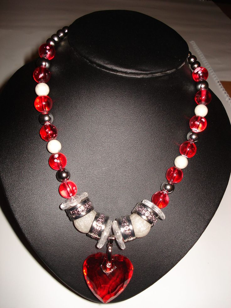 Glass beaded necklace with heart pendant