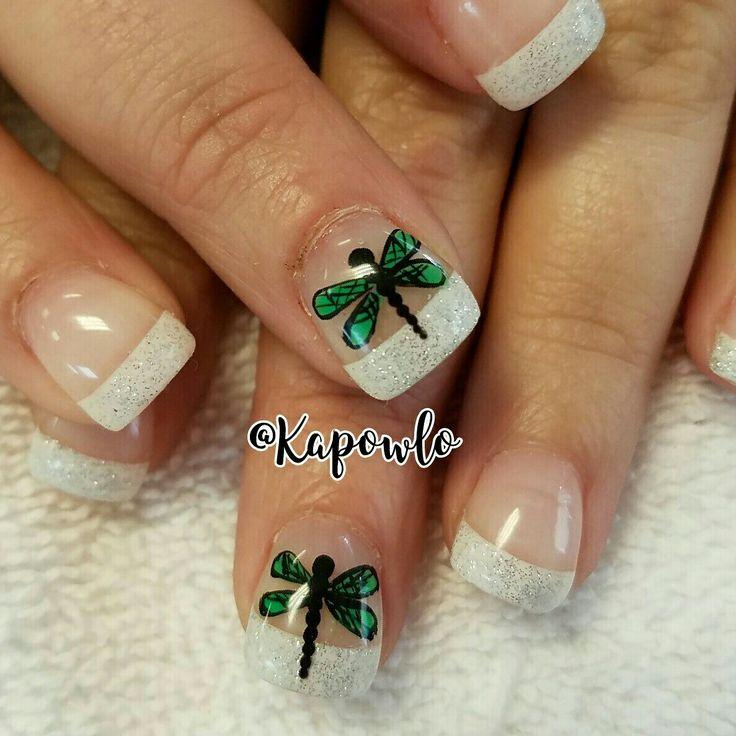 Cute dragonfly nail art. Butterfly nail art. - Ponad 25 Najlepszych Pomysłów Na Temat Dragonfly Nail Art Tylko Na