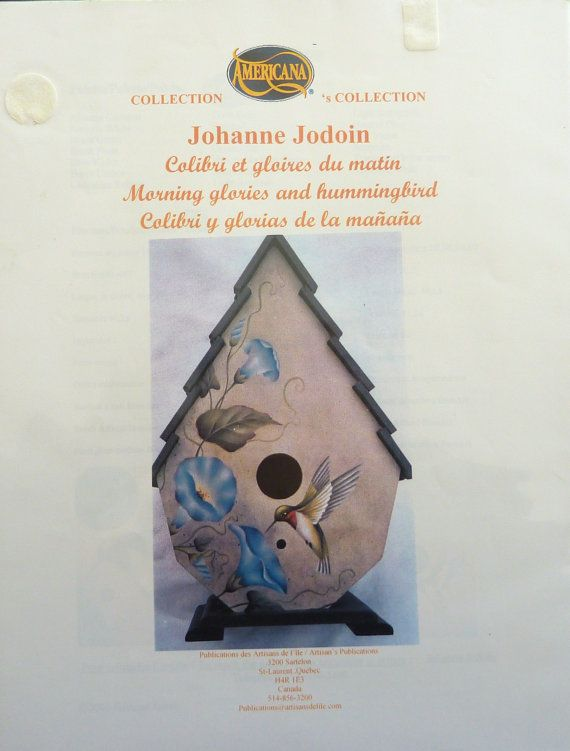 Tole Painting Pattern Packet - MORNING GLORIES and HUMMINGBIRD - by Johanne Jodoin