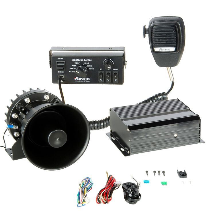 ABRAMS EXP-SUPREME-KIT/200-C Explorer 200W Console Mount Siren System Set with Mechanical Tones, Comes with PA Mircophone & 200W Supreme Siren Speaker