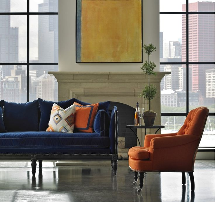 """furniture-meubles: """" Lillian August Collection by Hickory White Furniture. Loving the Navy Blue Velvet mixed with Tangerine Accents! """""""