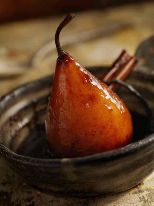 Fragrant pears poached in red wine make for a healthy dessert or a rather different side dish. This is perfect for people who are not too fond of sugary-sweet desserts. Or for someone who wants to add something new and wonderful to their dinner repertoire, instead of the usual peas and carrots.