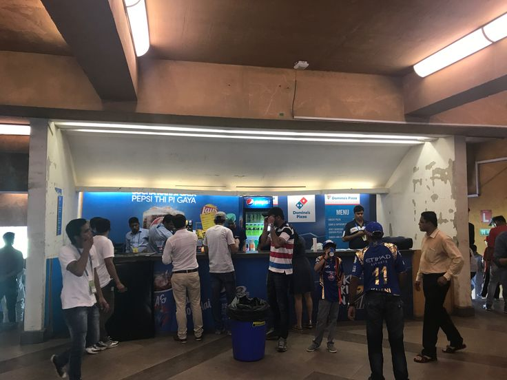 Drink options at Wankhede Stadium, Mumbai- drinks poured out of 2L soft drink containers into plastic cups. No post mix etc taps.