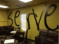 Love the Serve on the wall...maybe something smaller?  Free to Serve? Verse reference?