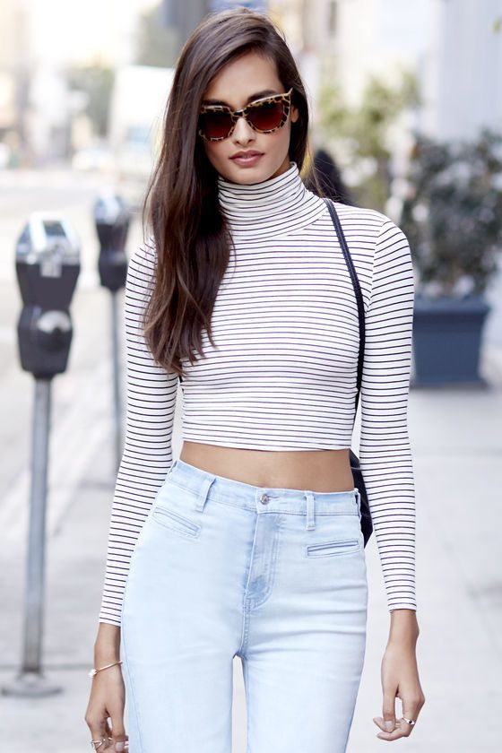 Trend-er's Game Black and Ivory Striped Long Sleeve Crop Top