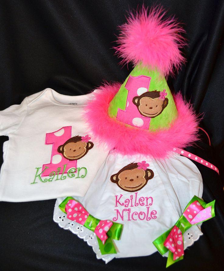 Monkey First Birthday Cake | Mod Monkey Girl 1st First Birthday Hat onsie or shirt, diaper cover ...