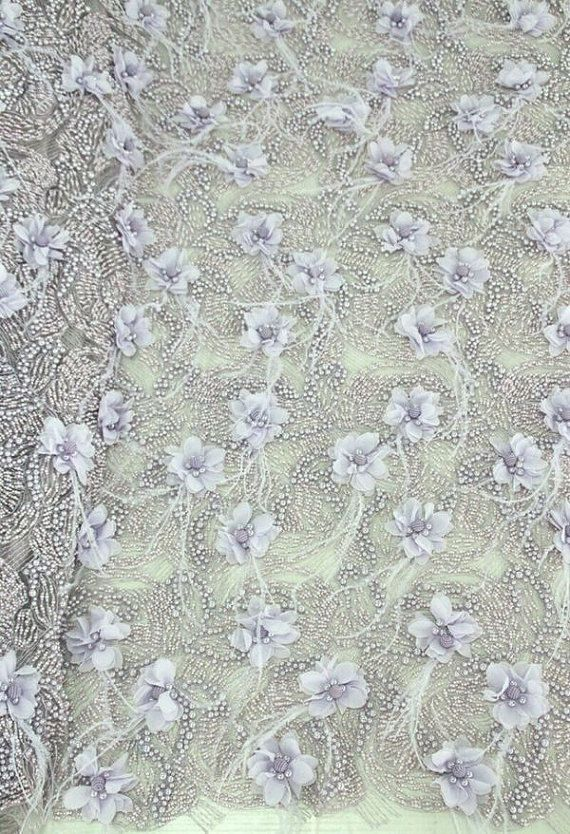 Super luxurious wedding lace fabric,3D lace fabric,bridal lace fabric,beaded lace fabric with 3D flowers,guipure lace fabric,dress fabric by Jennylacefabric on Etsy