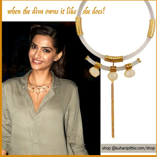 Owning it like she does, Sonam Kapoor is ultra glamorous in a Suhani Pittie Haslee! Shop @ http://www.suhanipittie.com/celebrity-closet.html  #SuhaniPittie #SonamKapoor #CelebrityJewelry