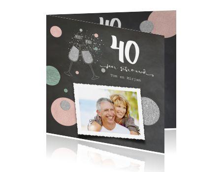 40 jarig jubileum uitnodiging foto en zilveren glitter glazen