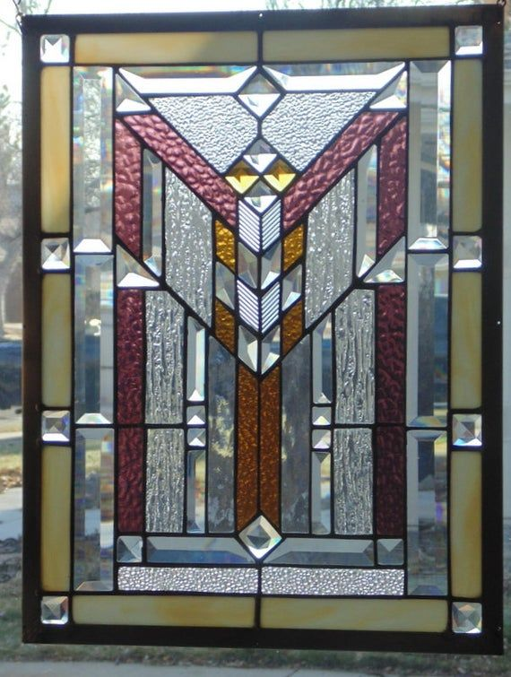 Stained Glass Window Hanging 22 X 17 3 4 Brass Frame Edging Stained Glass Window Hanging Stained Glass Windows Modern Stained Glass