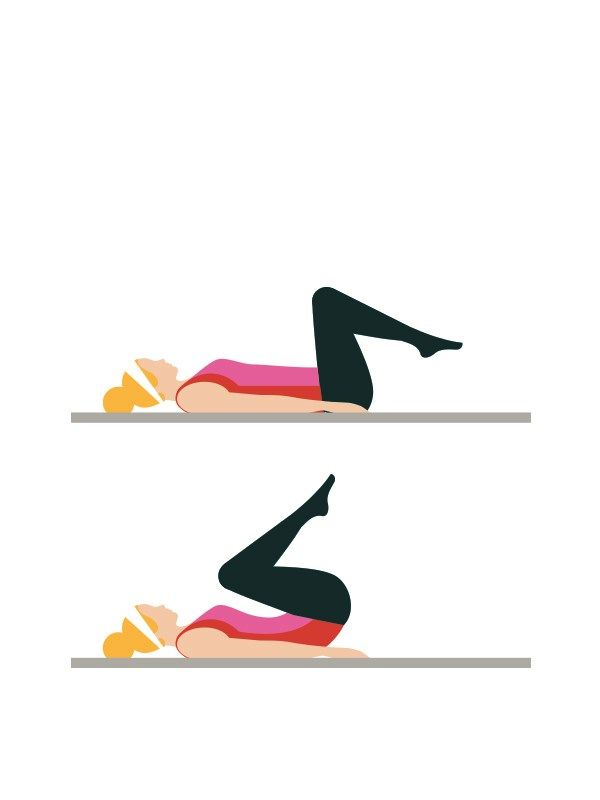 Beginner's workout circuit - Reverse crunches: 20 reps  Lie on your back with your legs raised and bent so your lower legs are parallel to the floor. Raise your hips off the floor, bringing your knees towards your chest. Keep your core braced to protect your back. Click to read the full workout on You & Your Wedding's website.