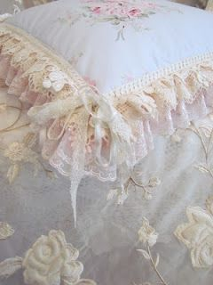 Angela Lace - details of flounce on pillow with layers of lace and trim - great ideas to be found on Angela Lace Blog