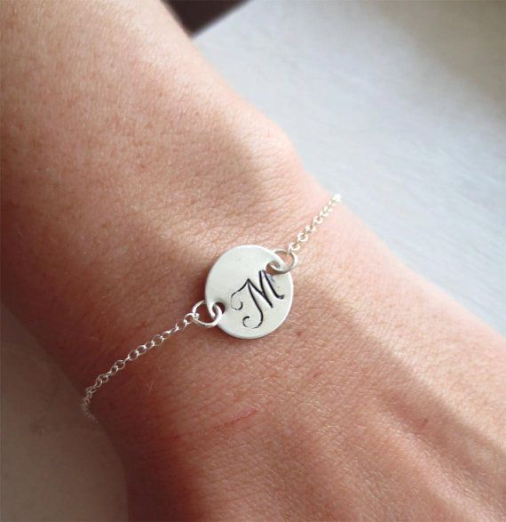 Initial Sterling Silver Bracelet Letter Charm by DreamWillowStudio, would make inexpensive bridesmaid gifts