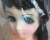 Vintage Fashion Doll / Fibre-Craft 15 inch plastic doll / doll making supply / black hair / blue eyes / high heels / original package
