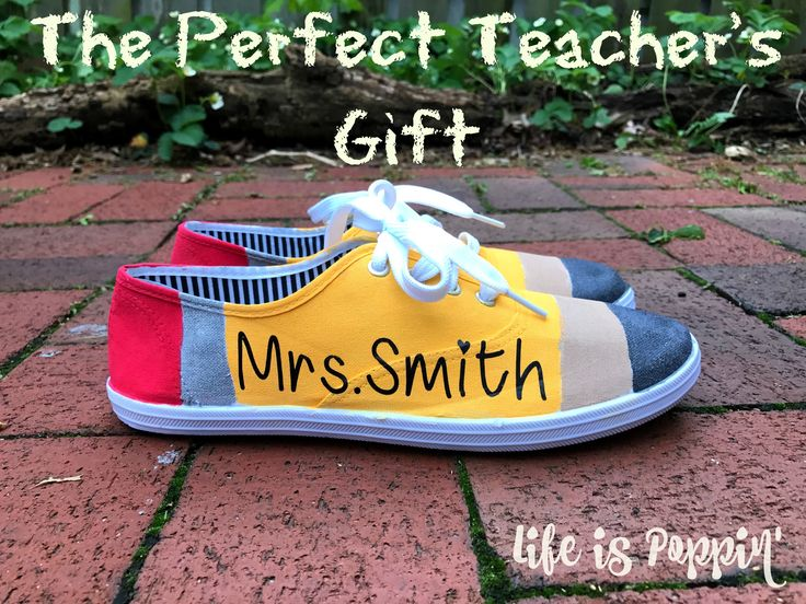With a few acrylic paints and a pair of white canvas shoes, you can make these super cute classic No. 2 Pencil shoes for your favorite teacher.