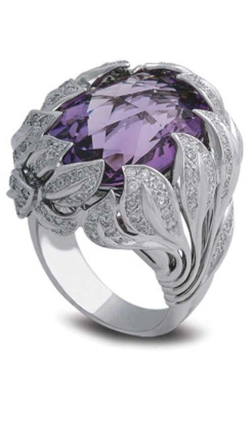 White gold, diamond, and amethyst ring by Samra #SizzlingSummerBling@catalogs