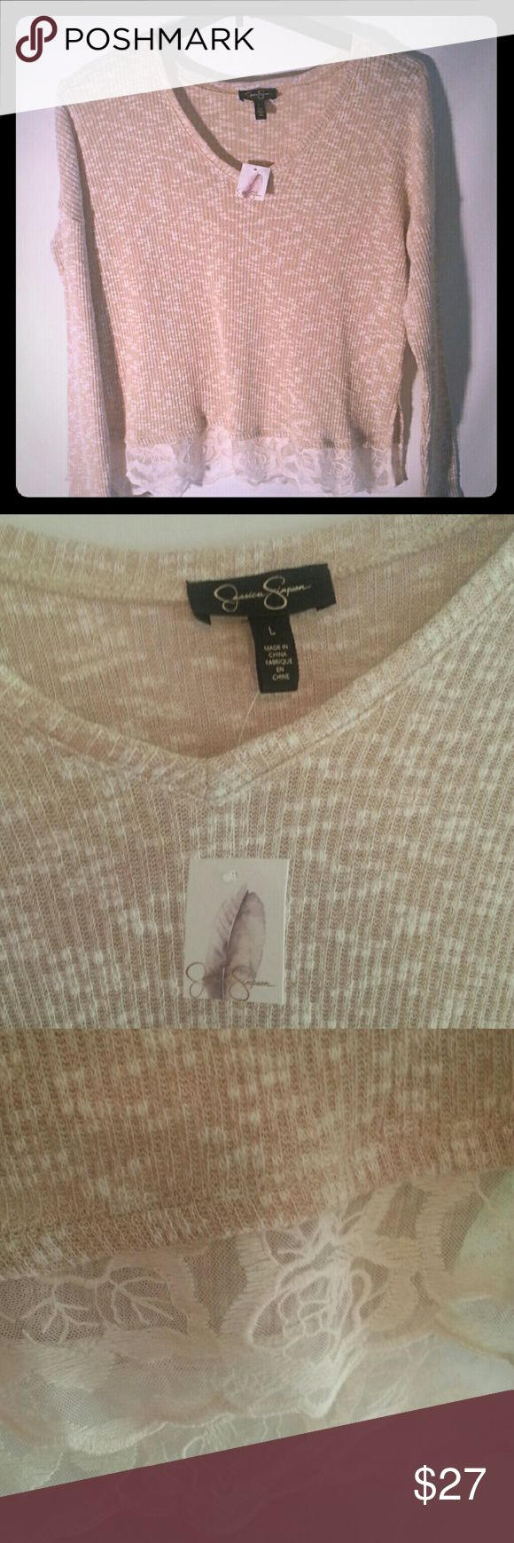 Jessica simpson shirt Jessica simpson long sleeve light sweater with tags.  Lacy bottom trim. Extremely comfortable . Would look great for comfortable   work clothes. Jessica Simpson Sweaters V-Necks