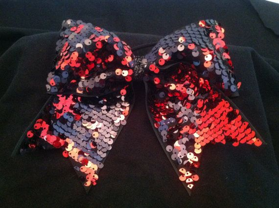 """3"""", 3 inch cheer cheerleader bow-BLING red and black reversible sequins I am sooo in love with this bow"""